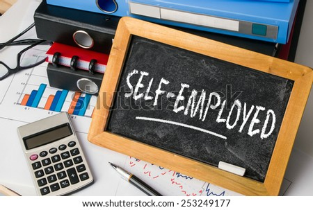 self-employed handwritten on blackboard - stock photo