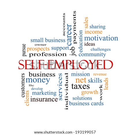 Self-Employed Word Cloud Concept with great terms such as business, money, owner and more. - stock photo
