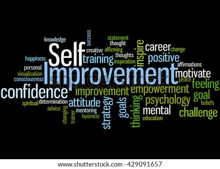 Self Improvement, word cloud concept on black background. - stock photo