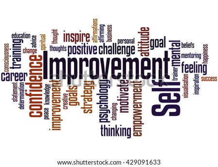 Self Improvement, word cloud concept on white background. - stock photo