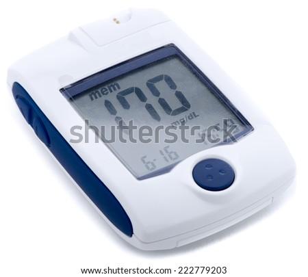 Self monitoring blood glucose device isolated on white background. - stock photo