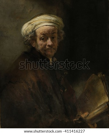 Self Portrait as the Apostle Paul, by Rembrandt van Rijn, 1661, Dutch painting, oil on canvas. Rembrandt's only self portrait as a biblical figure, represents the apostle Paul of Tarsus - stock photo