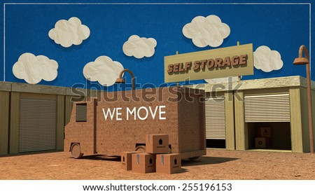 self storage units made with cardboard boxes - stock photo