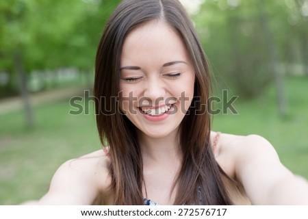 Selfie, Beautiful girl taken pictures of her self, instagram - stock photo