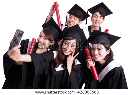 Selfie - group of happy graduates student taking pictures by themselves isolated on white background, asian - stock photo