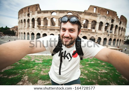 Selfie of a bearded man tourist in Rome, Italy - stock photo