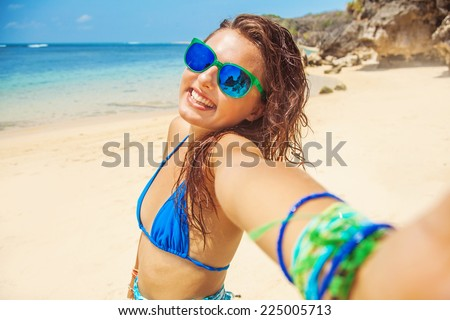selfie on a beach - stock photo
