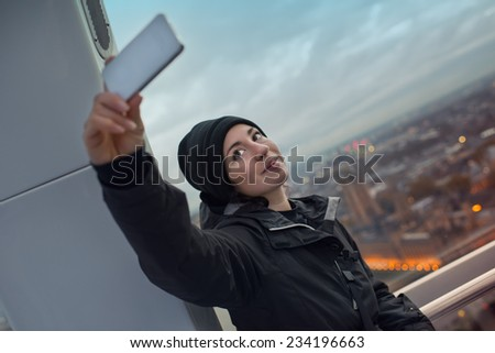 Selfie on London - stock photo