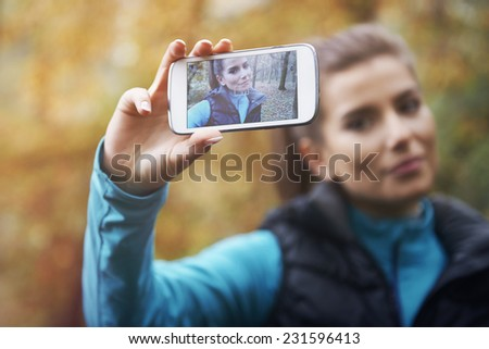 Selfie on social network from morning jogging   - stock photo