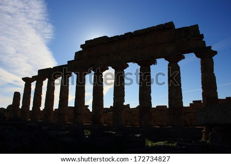 selinunte acropolis and fortified walls ancient Greek city situated on the southwestern coast of Sicily - stock photo