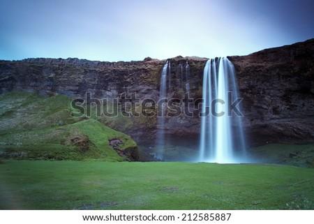 Seljalandsfoss. Beautiful waterfall in Southern Iceland near Eyjafjallajokull glacier - stock photo