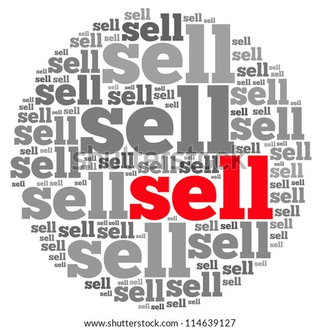 Sell info-text graphics and arrangement concept on white background (word cloud) - stock photo