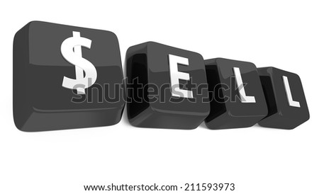 SELL written in white on black computer keys. 3d illustration. Isolated background. - stock photo