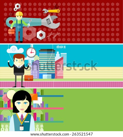 Seller consultant behind counter in shop. Happy businessman realtor showing clock on city background flat design style. Man, person with toolbox and wrench in hands. Engineer character. Raster version - stock photo