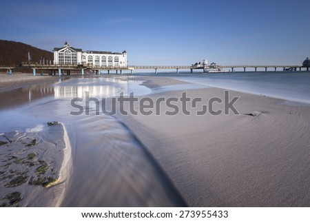 Sellin Pier - view from the beach - stock photo
