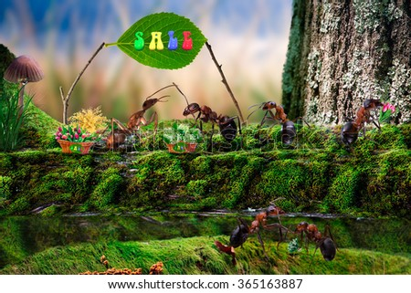 "Selling flowers. Ant in the forest, sells flowers. The queue for flowers. Flowers lilies, tulips and mimosa. Sale of flowers for the holiday. Flowers spring. The word ""for"".  - stock photo"