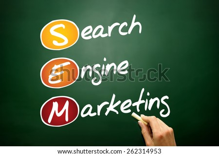 SEM Search Engine Marketing acronym, business concept on blackboard - stock photo
