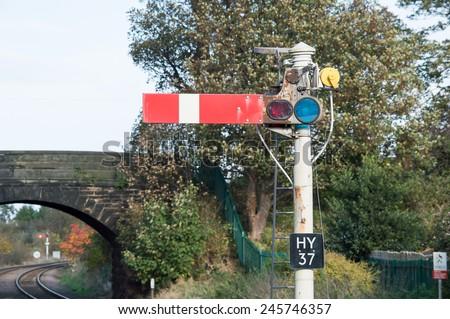 Semaphore Railway Signal in Stop/Danger Position - stock photo