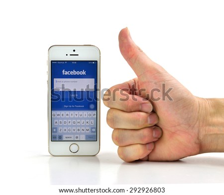 SEMBAWANG, SINGAPORE - JUNE 29, 2015: Social media are trending and both business as consumer are using it for information sharing and networking. - stock photo