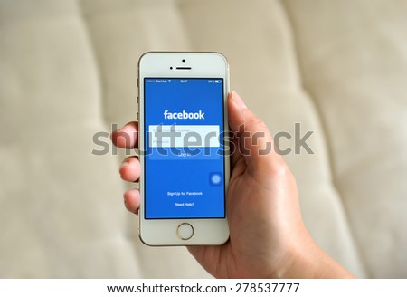 SEMBAWANG, SINGAPORE - MAY 17, 2015: Social media are trending and both business as consumer are using it for information sharing and networking. - stock photo