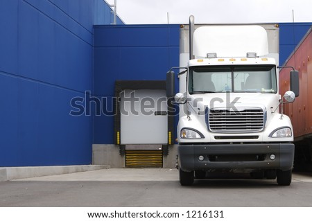 Semi at Loading Dock - stock photo