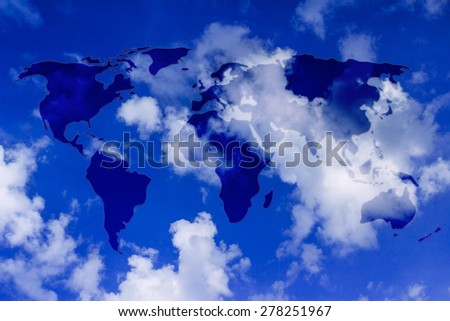 semi transparent glowing overlay creating the map of the world above the skky - stock photo