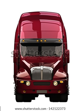 Semi truck front view with a white background - stock photo