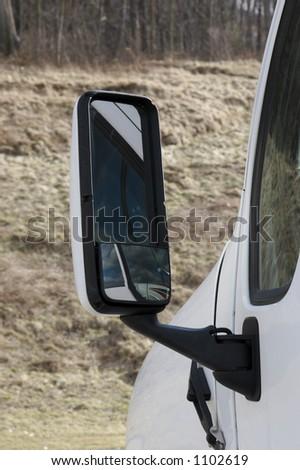Semi Truck Mirror Detail - stock photo