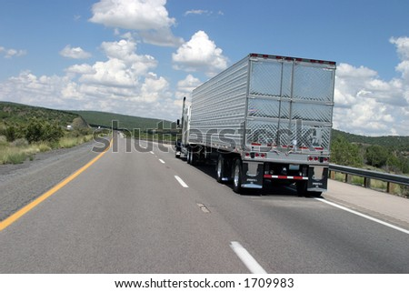 Semi Truck on Highway to Colorado - stock photo