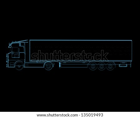 Semi truck with trailer (3D xray blue transparent isolated on black background) - stock photo