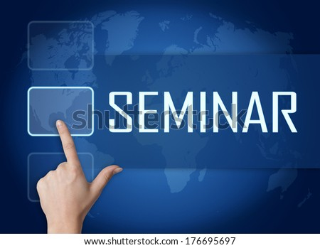 Seminar concept with interface and world map on blue background - stock photo