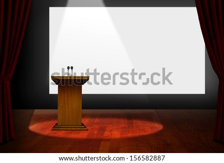 Seminar Podium and Blank Screen on Stage - stock photo