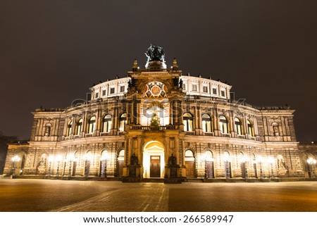 Semper Opera House At Night In Dresden; Germany - stock photo