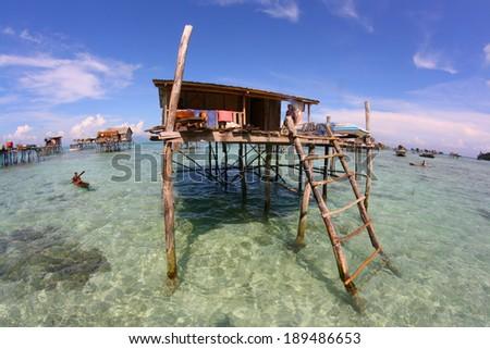 SEMPORNA SABAH MALAYSIA NOV 4 A Bajau Laut stilt