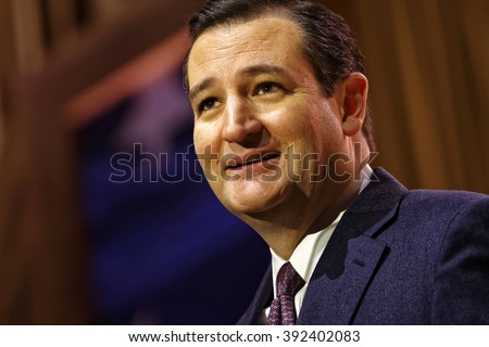 Senator Ted Cruz of Texas pictured during the 2014 CPAC conference in Washington DC. Cruz is seeking the Republican nomination for President. photo by Trevor Collens - stock photo
