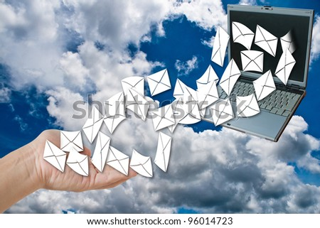 send or receive e-mail. - stock photo