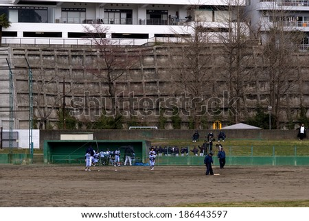 SENDAI, JAPAN - APRIL 5: Baseball training at April 5, 2014 in Sendai, Japan. Baseball is the most popular sports in Japan played througout the country. - stock photo