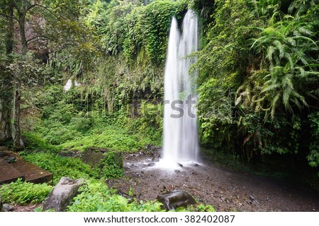 Sendang Gile waterfall near Rinjani, Senaru, Lombok, Indonesia, Southeast Asia - stock photo