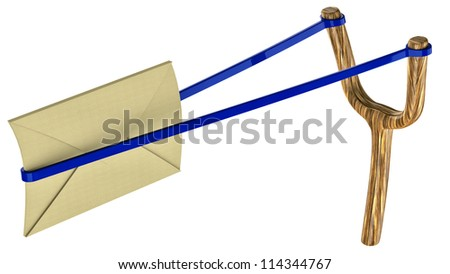 sending a white letter by means of slingshot - stock photo
