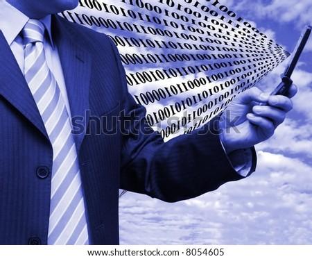 Sending binary code - stock photo