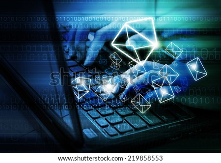 Sending E-mail marketing - stock photo