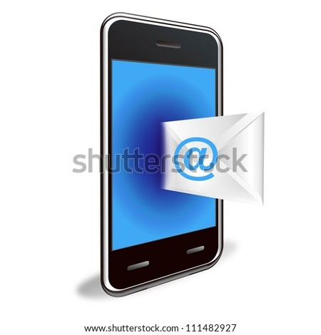 sending E-mail with smart phone - stock photo
