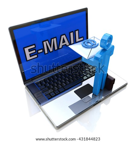 Sending Receiving E-Mail Through Laptop in the design of information related to internet. 3d illustration - stock photo