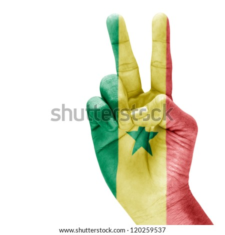 Senega flag on victory hand with a white background. - stock photo