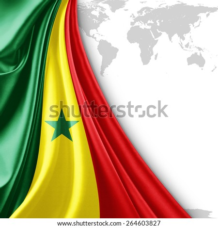 Senegal flag and world map background - stock photo