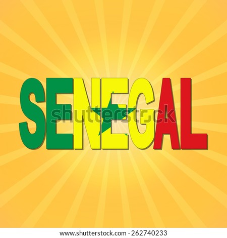 Senegal flag text with sunburst illustration - stock photo