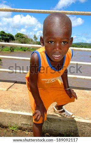 SENEGAL - SEPTEMBER 19: Little boy from Dindefelo looking at camera, on September 19, 2007 in Dindefelo, Casamance, Senegal - stock photo