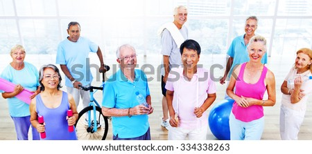 Senior Adult Exercise Activity Healthy Workout Concept - stock photo