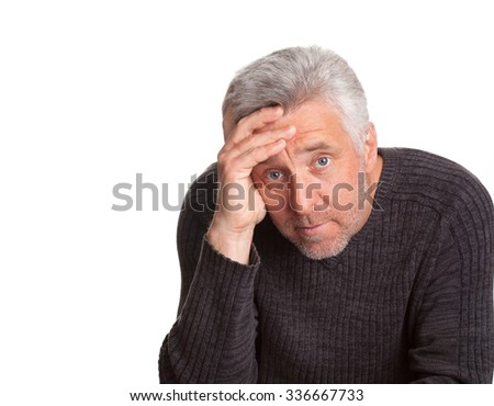 senior adult man lost  thought isolated on white background - stock photo