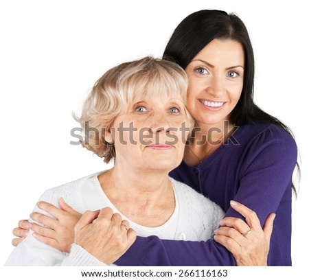 Senior Adult. Senior lady and her granddaughter - stock photo